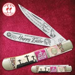 Kissing Crane 2020 Easter Trapper Pocket Knife - Stainless Steel Blades, Bone And Exotics Handle, Nickel Silver Bolsters, Individually Serialized