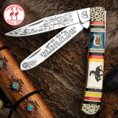 Kissing Crane Trail Of Tears Trapper Pocket Knife - Stainless Steel Blades, Bone And Resin Handle, Hammered Bolsters, Individually Serialized