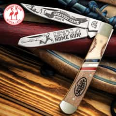 Kissing Crane Baseball Trapper Pocket Knife - Stainless Steel Blades, Bone And Wood Handle, Nickel Silver Bolsters