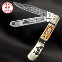 Kissing Crane Motorcycle Trapper Pocket Knife - Stainless Steel Blades, Bone Handle, Nickel Silver Bolsters, Brass Liners