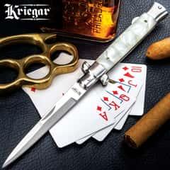 Kriegar High-Roller Stiletto Pocket Knife - Imitation Pearl