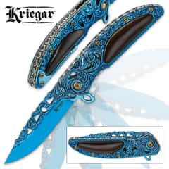 Kriegar Cavalier Blue Assisted Opening Pocket Knife - Iridescent Cobalt with Ravenwood Inlays