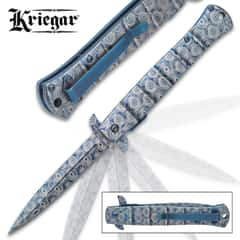 Kriegar Blue DamascTec Stiletton Pocket Knife - Stainless Steel Blade And Handle, Damastec Finish, Assisted Opening