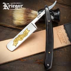 Kriegar Black Velvet Best Shave Razor - Stainless Steel Blade, Black Acrylic Handle Scales, Brass Pins, Stainless Liners - Length 10""
