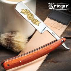 Kriegar Pioneer Trail Best Shave Razor - Stainless Steel Blade, Wooden Handle Scales, Brass Pins, Stainless Steel Liners - Length 10""