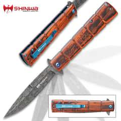 Shinwa Bloodwood Takegara Pocket Knife - Raindrop Damascus Patterned Steel Blade, Ball-Bearing Opening, Wooden Handle Scales, Pocket Clip