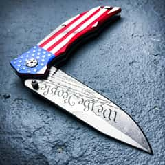 "MTech ""We the People"" Assisted Opening Pocket Knife - US Constitution Blade Etching; US Flag Handle"