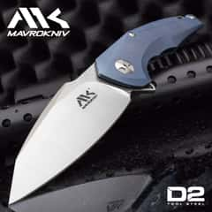 "Mavrokniv Mav I Pocket Knife - D2 Tool Steel Blade, Ball Bearing Opening, Blue Titanium Handle Scales, Framelock, Pocket Clip - 5"" Closed"