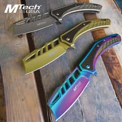 MTech USA Cleaver Pocket Knife - 3Cr13 Stainless Steel Blade, Stainless Steel Handle, Tinite-Coated, G-10 Inlay, Flat Head Driver