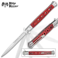 Ridge Runner Redneck Toothpick Stiletto - Stainless Steel Blade With Etch, Wooden Handle, Pocket Clip - Closed Length 7""