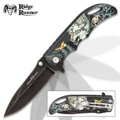 Ridge Runner Wolf Mountain Pocket Knife - Stonewashed Stainless Steel Blade, TPU Handle, 3D Print Artwork, Pocket Clip