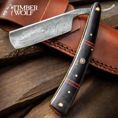 """Timber Wolf Calcutta Folding Razor Knife And Sheath - Damascus Steel Blade, Bone Handle Scales, Brass Liners And Pins - Length 9 3/4"""""""