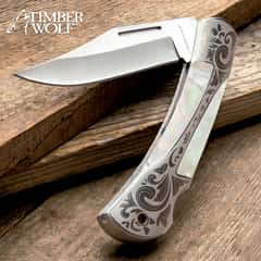 Timber Wolf Gentleman's Pearl Pocket Knife - Lock Back, Stainless Steel Blade, Genuine Pearl Inlays, Nickel Silver Bolsters