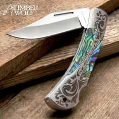Timber Wolf Gentleman's Abalone Pocket Knife - Lock Back, Stainless Steel Blade, Genuine Abalone Inlays, Nickel Silver Bolsters
