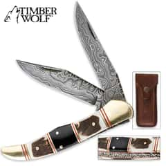 Timber Wolf Filework Hunter Pocket Knife Damascus