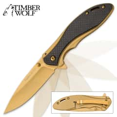 Timber Wolf Gold Titanium Pocket Knife