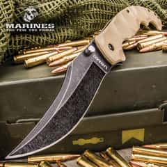 Scorching Sands Clip Point Pocket Knife - 3Cr13 Stonewashed Stainless Steel Blade, Textured G10 Handle, Pocket Clip With USMC Cut-Out