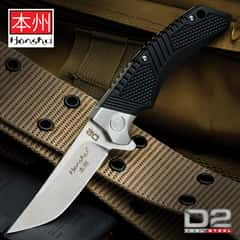 Honshu Premium Sekyuriti Ball Bearing Opening Pocket Knife - D2 Tool Steel Blade, TPU Handle Scales, Steel Pocket Clip