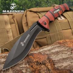 USMC Combat Master Pocket Kukri - Assisted Opening, Stainless Steel Blade, Textured Aluminum Handle, Glass Breaker