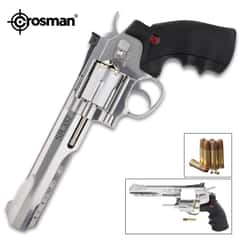 Crosman SR357 Revolver Air Gun - Full Metal Construction, Six-Shot Cylinder, Reusable Cartridges, Adjustable Rear Sight
