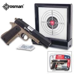 """Crosman 1911 Pistol Kit - Spring-Powered, 200 FPS, Picatinny Rail, Magazine, Skeletonized Trigger - Length 8 1/2"""""""