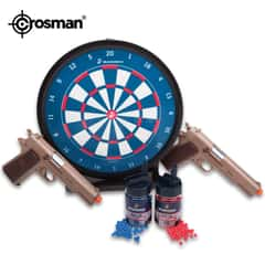 Crosman Marines Challenge All-in-One Airsoft Kit - 2 Spring Powered Pistols, Glock Style, 325 fps, 12-Round Magazines; 1,000 6mm, .12g BBs; Target - USMC Licensed - Competition, Practice, Family Fun