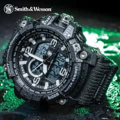 Smith & Wesson Combat Chrono 5.56 Watch - Tough TPR Band, Automatic Calendar, EL Backlight, Dual Time