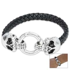 Dueling Skulls Black Leather Bracelet
