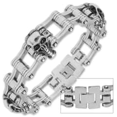 Chrome Death - Motorcycle / Bike Chain and Skulls - Stainless Steel Bracelet