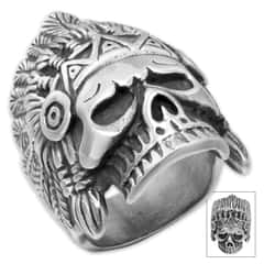 Native American Chief Skull Stainless Steel Men's Ring