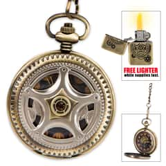 "Kraken ""Steam Aeterna"" Timepiece - Exclusive Steampunk Pocket Watch in Gift Tin - Free Brass Lighter"