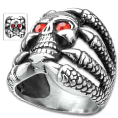 Skull Claw Ring With Ruby Red Eyes - Stainless Steel Construction, Faux Stones, Lifetime Of Wear, Highly Detailed, Everyday Wear