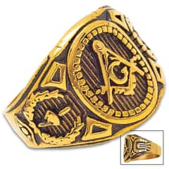 Gold And Black Masonic Signet Ring - Stainless Steel Construction, Lifetime Of Wear, Highly Detailed, Everyday Wear