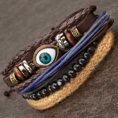 Inner Eye Stacked Bracelets - Set Of Four - Leather Thongs, Wooden Beads, Natural Jute, Metal Accents, Knot Slide Pulls