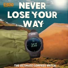 BugOut Black Digital Tactical Watch And Compass - 50M Water-Resistant, EL Backlight, World Time, PU Band, PC Case, Clear Resin Window