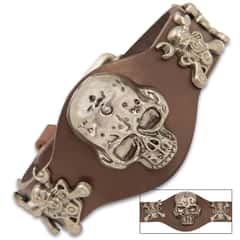 "Steampunk Skull Bracelet With Buckle - Crafted Of Leather, Stainless Steel Accents, Belt Buckle Closure - Dimensions 10""x 1 1/2"""