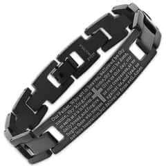 Black IP Stainless Steel Prayer Bracelet