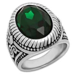 Emerald Green Colored Jewel / Simulated Diamond Men's Ring - Stainless Steel
