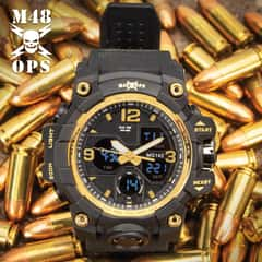 M48 Black And Gold Analog And Digital Tactical Watch - Water-Resistant Watch, Comfortable PU Resin Band, Hard PC And Stainless Steel Case, Clear Resin Glass