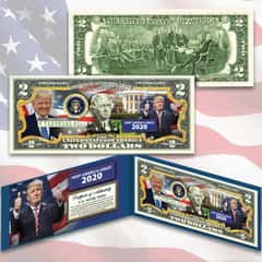 Trump Keep America Great 2020 Two-Dollar Bill - Legal US Tender, Colorized Images, Uncirculated, Display Folio, Certificate Of Authenticity