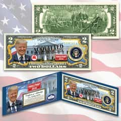 Trump Acquitted 2 Bill - Legal US Tender, Colorized Images, Uncirculated, Display Folio, Certificate Of Authenticity