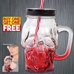"""The Crimson Cranium"" Skull Mason Jar Glass with Lid and Straw - BOGO"