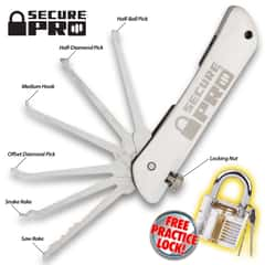 Secure Pro Padlock With Folding Lock Pick Set