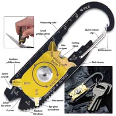 SHTF 20-In-1 Multi-Tool EDC With Carabiner Quick Release Clip - Various Sized Wrenches And Screwdrivers, Blade, Ruler, File