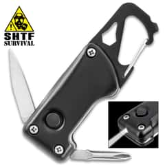 "BugOut Six-In-One Multi-Tool With LED Micro Flashlight - Flat Head And Phillips Screwdriver, Wrench, Knife, Spring Clip - Dimensions 3""x 1"""