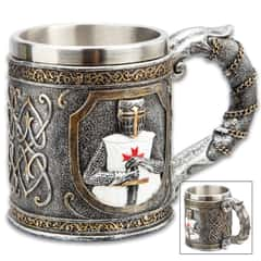 "Crusader Knight Mug And Tankard - Crafted Of Cold Cast Resin, 3-D Relief, Exquisitely Painted, Stainless Steel Liner - Dimensions 4 1/4""x 6"""