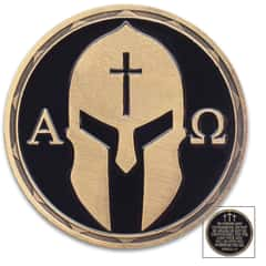 Christian Warrior Challenge Coin - Alpha And Omega - Joshua 1:9 - Crafted Of Metal Alloy, Detailed 3D Relief On Each Side, Antique Brass Finish, Diameter 1 1/2""
