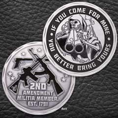 If You Come For Mine Challenge Coin - Crafted Of Metal Alloy, Antique Silver Finish, 3D Relief On Each Side - Diameter 1 5/8""