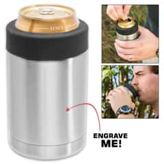 Stainless Steel Can Koozie - Double-Walled Vacuum Insulated - For 12-oz Drink Cans