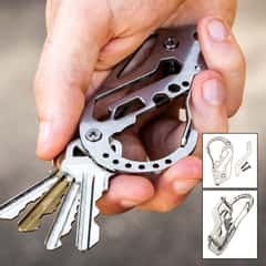"Multi-Function Carabiner Key Organizer - Stainless Steel Construction, Wrench, Screwdriver, Bottle Opener - Dimensions 3 1/4""x 2"""
